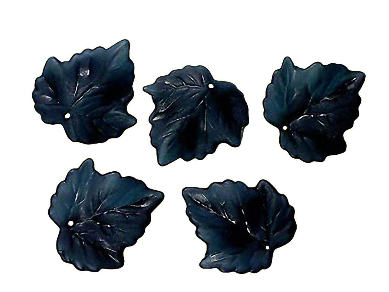 5 Stck. Lucite Blätter schwarz gefrostet, 25mm