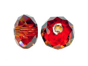Grosslochperle Swarovski� Rondell Crystal Red Magma
