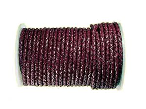 Lederband geflochten bordeaux 4mm