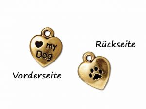 Charm Herz Love my dog Pewter vergoldet 12mm