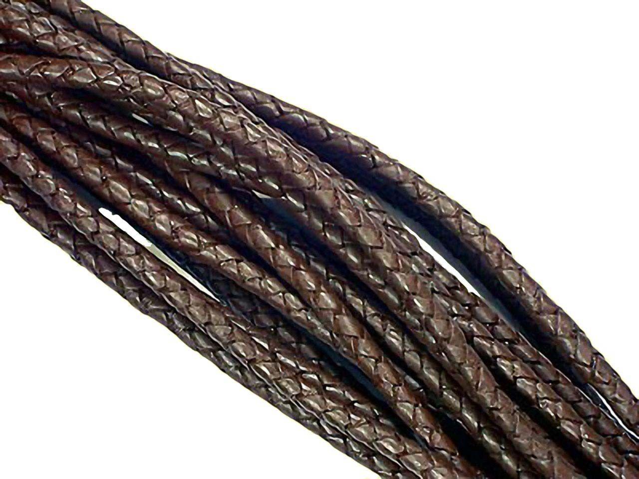 Extrem 1m Lederband flach geflochten, braun 5mm DB74