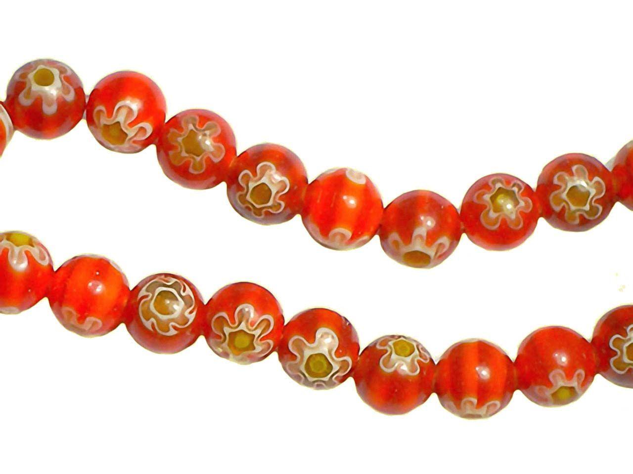 Strang rote runde böhmische Glas Perlen