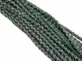 10m Leathercord Braided Darkgreen-Natural 4mm