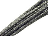 10m Leathercord Braided Antique 5mm Grey