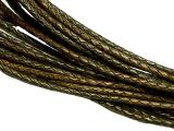 10m Leathercord Braided 3mm Antique Darkbrown