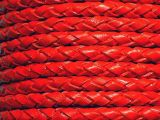 Leathercord Braided 4mm Coralred