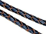 Leather Cord Braided Navy Blue-Natural 4mm