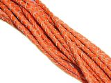 Lederband geflochten Orange-Natur 4mm