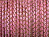 Leather Cord Braided Pink Natural 4mm