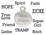 Message Charm Stainless Steel With Loop 12mm Engraved Own...