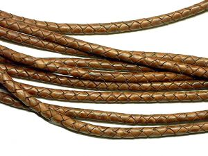 10m Leathercord Braided Antique Lightbrown 5mm
