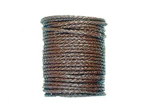 5m braided leathercord, brown, 3mm