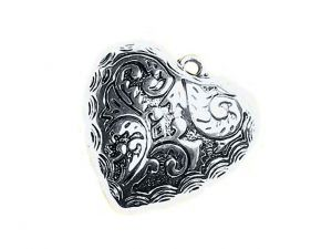 Pendant Heart Acryl Silverplated Big