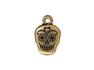 Charm Sugar Skull Pewter Goldplated