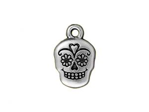 Charm Sugar Scull Silverplated Pewter