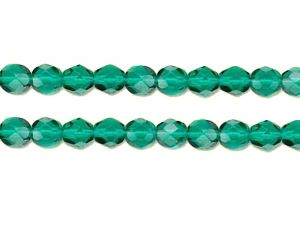 Faceted Firepolished Glass Bead Emerald 6mm