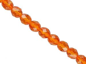 Faceted firepolished Glass Beads Orange 8mm