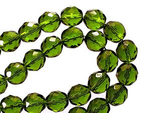 Faceted Glassbeads Khaki 12mm