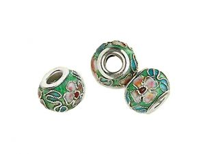 Big Hole Bead Cloisonne green with flowers
