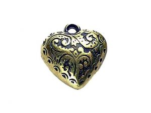 Heart Acryl Goldplated Antique 20mm