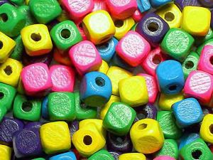 Wood Beads Mix App 100 Cubes 10mm