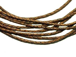 Leathercord Braided Antique 4mm Light-Brown