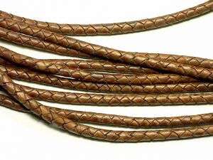 Leathercord Braided Antique Lightbrown 5mm