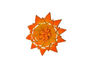 Leather Flower Strip Yellow Orange