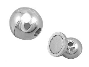 Leathercord Clasp Ball Silverplated 12mm