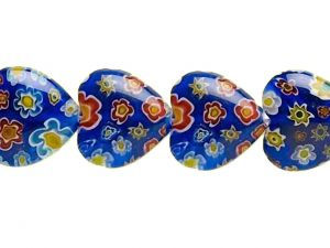 Millefiori Glass Beads Blue Hearts
