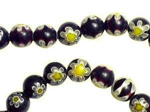 Millefiori Beads Black with Flower