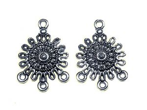 Earring Charms Sunshine Silverplated Pewter