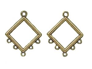 Earring Charm Diamond Antique Brass