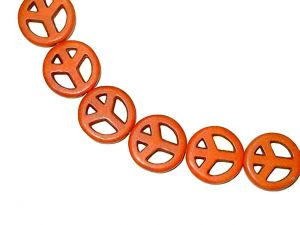 Peace Perlen Magnesit Orange 15mm