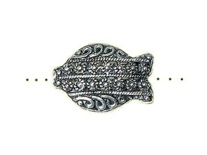 Bead Fish Filligree Pewter Silverplated