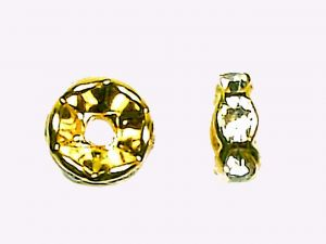 Rondelle Crystal goldplated 8mm