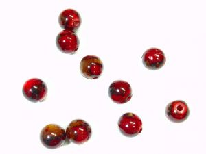 Acrylic Beads Red-Brown Blobs 12mm round 10 pcs