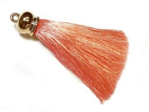 Pendant Tassel 70mm Salmon With Gold-Colored Cap