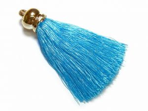 Pendant Tassel 70mm Turqoise Color With Gold-Colored Cap