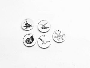 Carms Marine Motifs 12mm Stainless Steel Engraved 5 Pieces