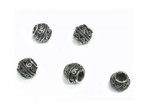 Big Hole Beads Chittar Antiqued Silver Metal 5 pcs.