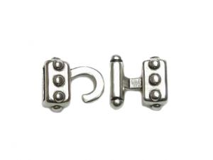 Hook Clasp With Rivet Design 10mm Silver-Plated