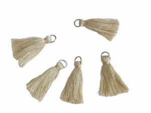 Tassels Cotton With Jump Ring Beige 5 Pcs.