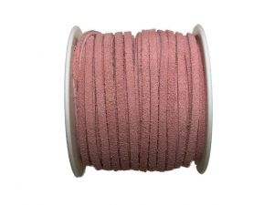 Velour Lederband Realeather flach 3mm Rosa