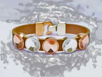 Leather bracelet with crystal glass cabochons