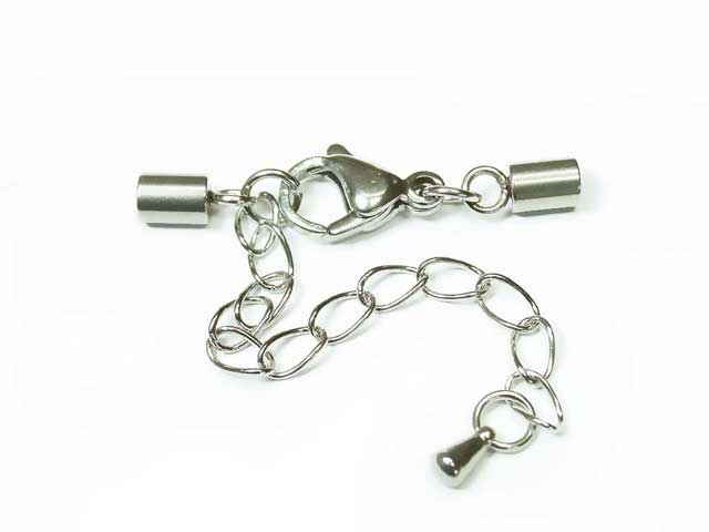 Clasps for leather jewelery with extension chain